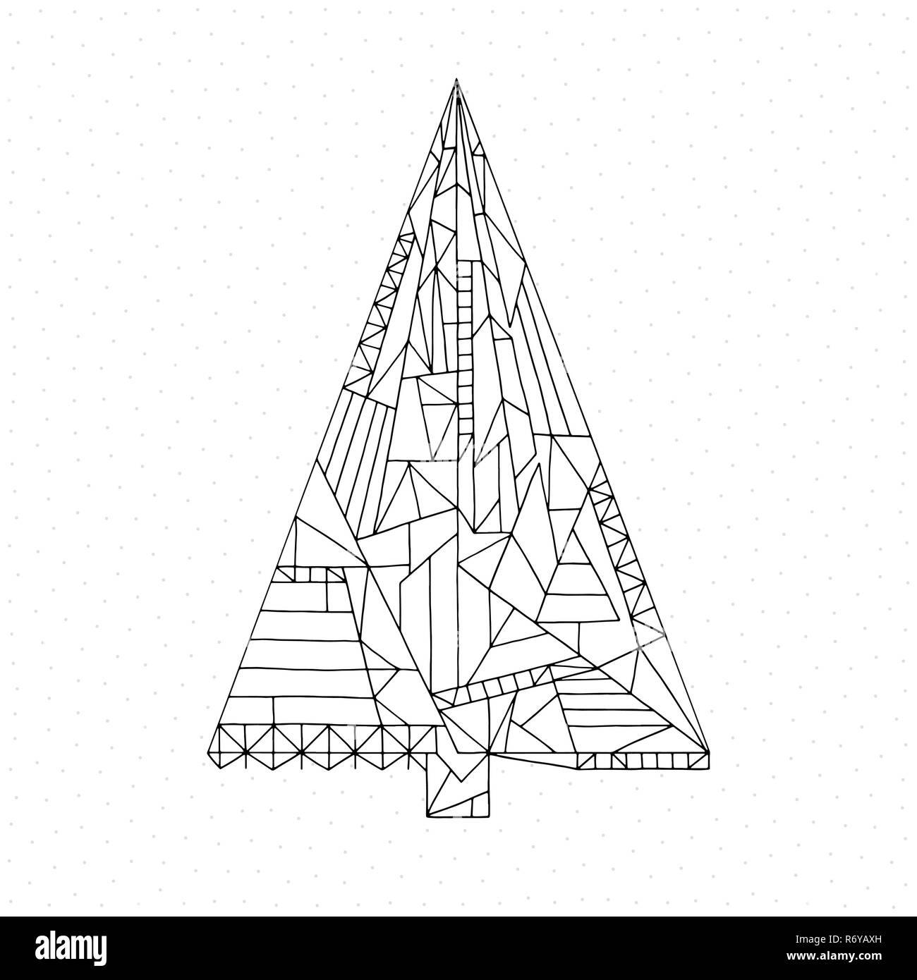 184 disegni natalizi da colorare. Albero Di Natale Libro Da Colorare Disegnata A Mano Abstract Vacanze Invernali Illustrazione Vettoriale Sfondo Di Natale In Stile Moderno Immagine E Vettoriale Alamy