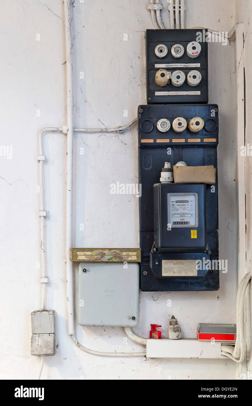 hight resolution of old fuse box with an electricity meter and electrical wiring on a fuse box in basememt