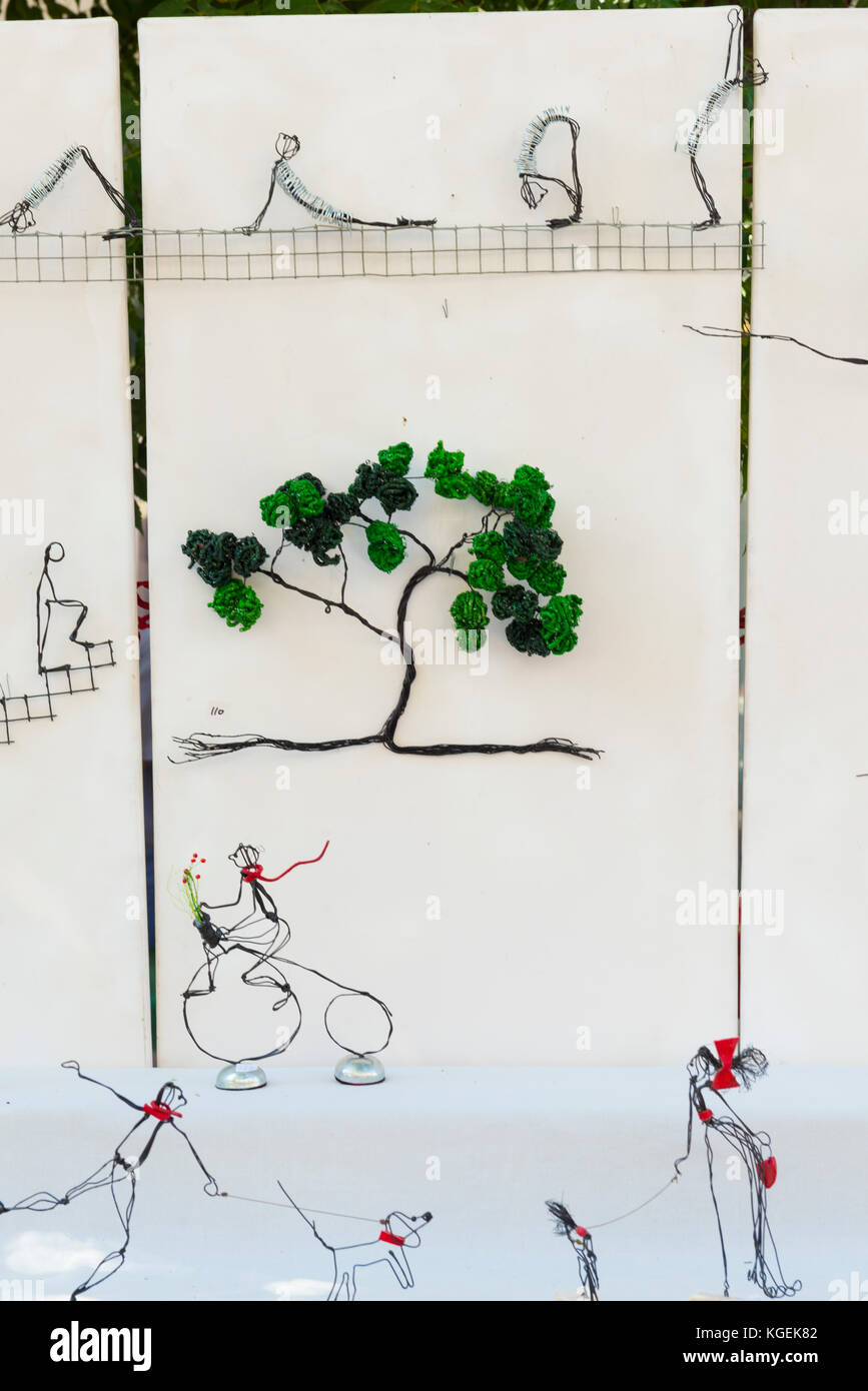 medium resolution of israel the holy land tel aviv nahalat binyamin street arts crafts handicraft fair market wire novelty art figures tree dog bicycle penny farthing