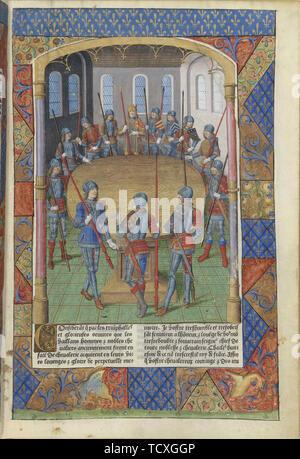 Les Chevaliers Du Roi Arthur : chevaliers, arthur, Lancelot, Arthur, Chevaliers, Table, Ronde,, 1494., Creator:, Master, Jacques, Besançon, (active, 1480-1510, Stock, Photo, Alamy