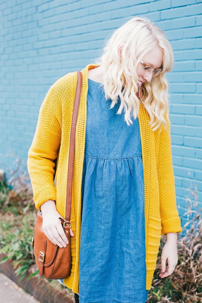 austin style blogger asos smock dress yellow sweater2