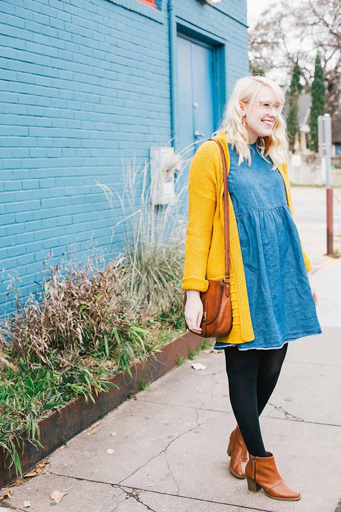 austin style blogger asos smock dress yellow sweater5