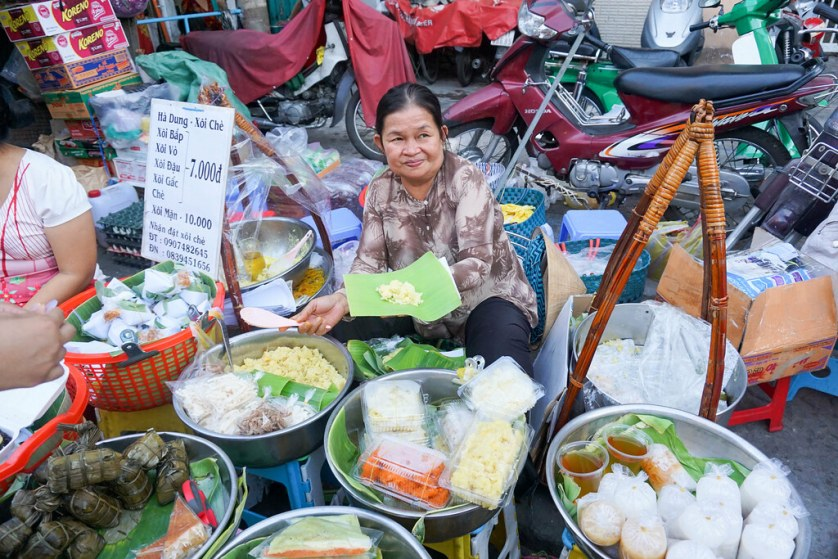 Durian, Rice, Sugar and Fried Onion Vendor. Ho Chi Minh City, Vietnam, April 2016