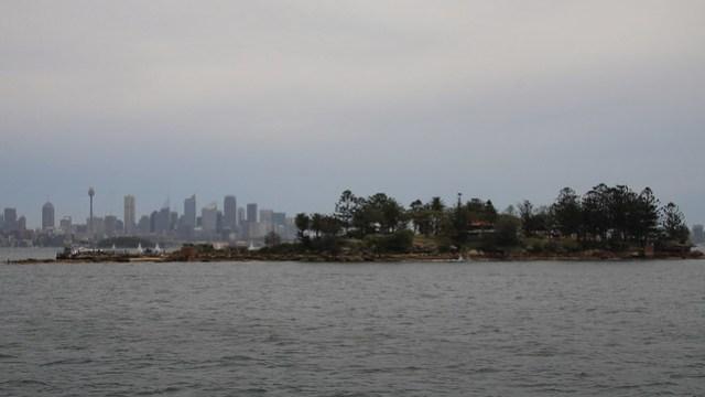 Boowambillee (Shark Island) and Sydney City Skyline