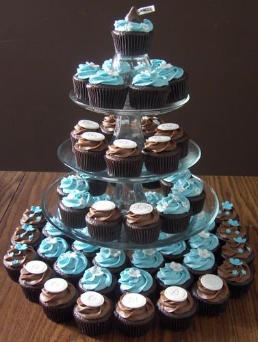 60th Birthday Cupcake Tower  4 dozen chocolate cupcakes
