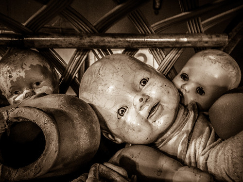 Creepy Doll Heads in Sepia