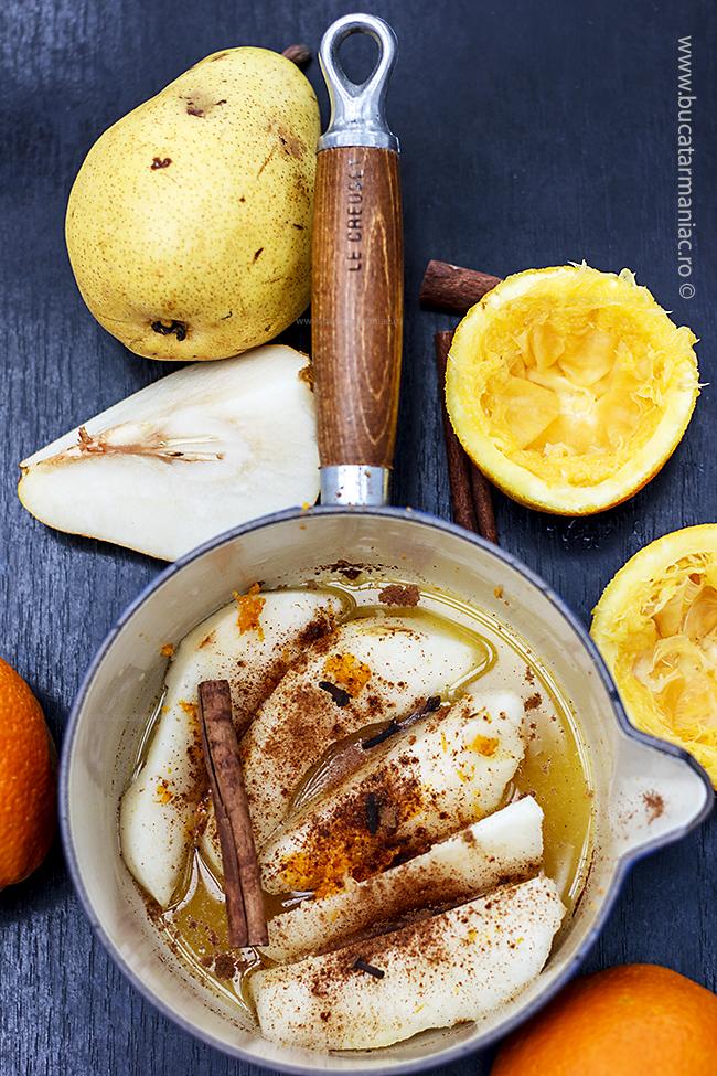 pere in suc de portocale și vin1
