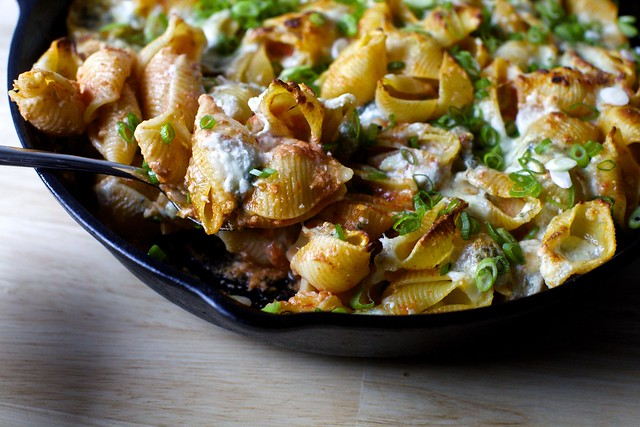 skillet baked pasta with five cheeses
