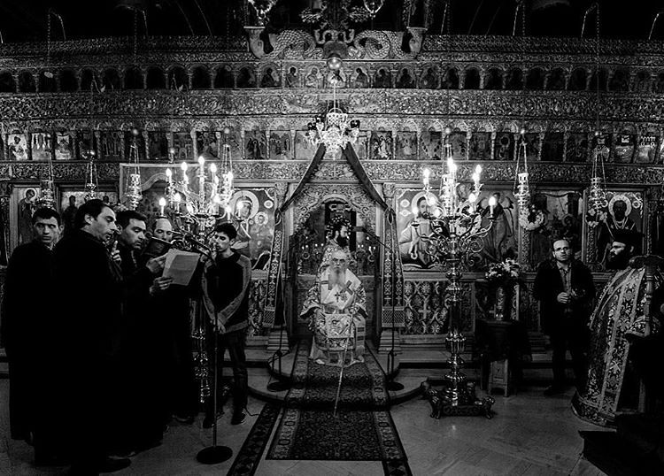 Good Friday mass at the Cathedral of the city of Kastoria in northern Greece. #goodfriday #church #bishop #bw #blackandwhite #canon #kastoria