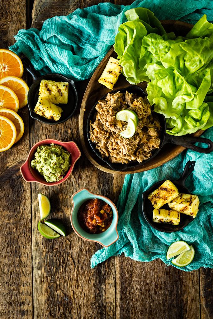 Slow Cooker Ancho Pulled Pork Lettuce Cups {Girl Carnivore}