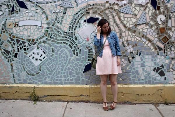 Denim Jacket, Skater Dress, Clogs   Shades of Sarah