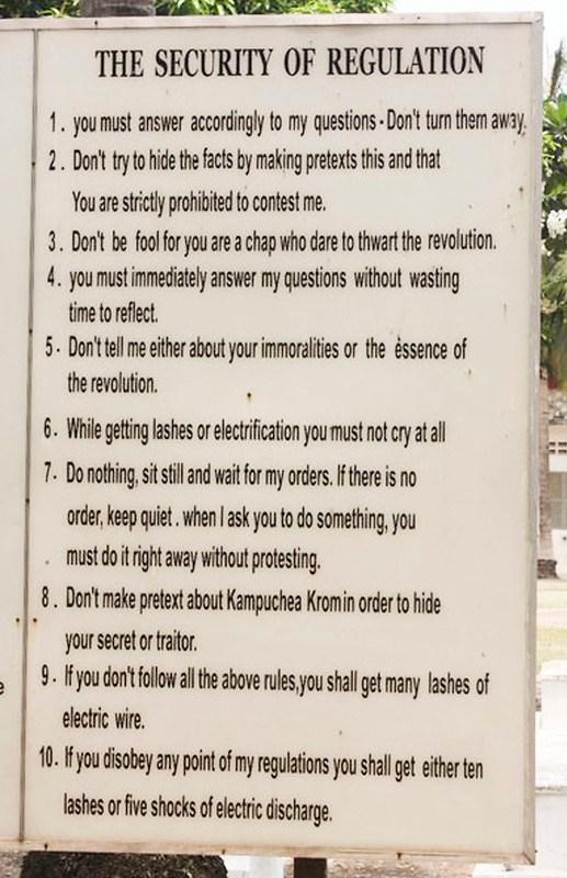 reglerne ved S21 fængslet i Cambodja