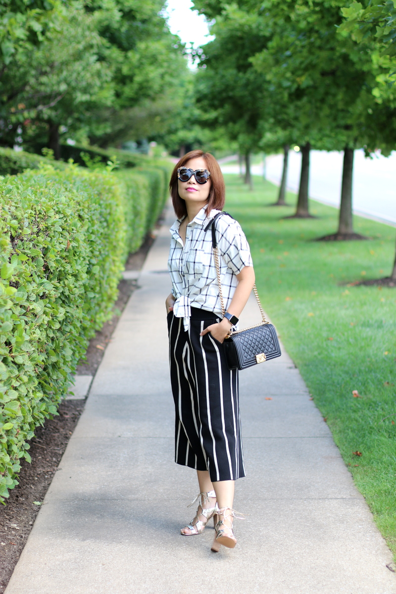 plaid-shirt-versona-stripe-pants-chanel-boy-bag