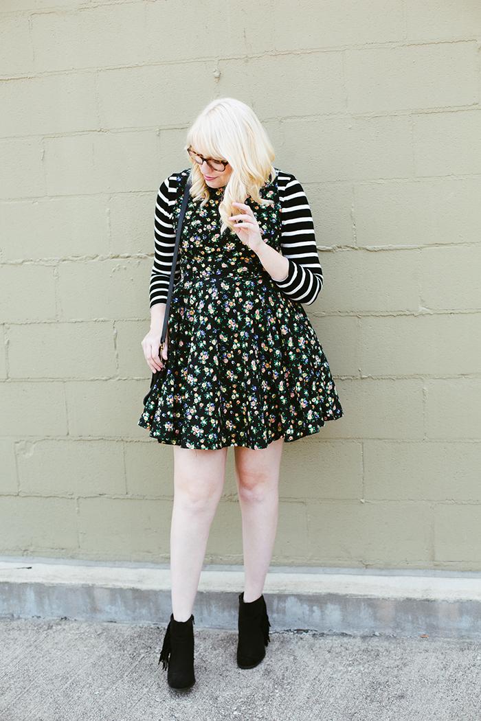 writes like a girl floral dress striped shirt1