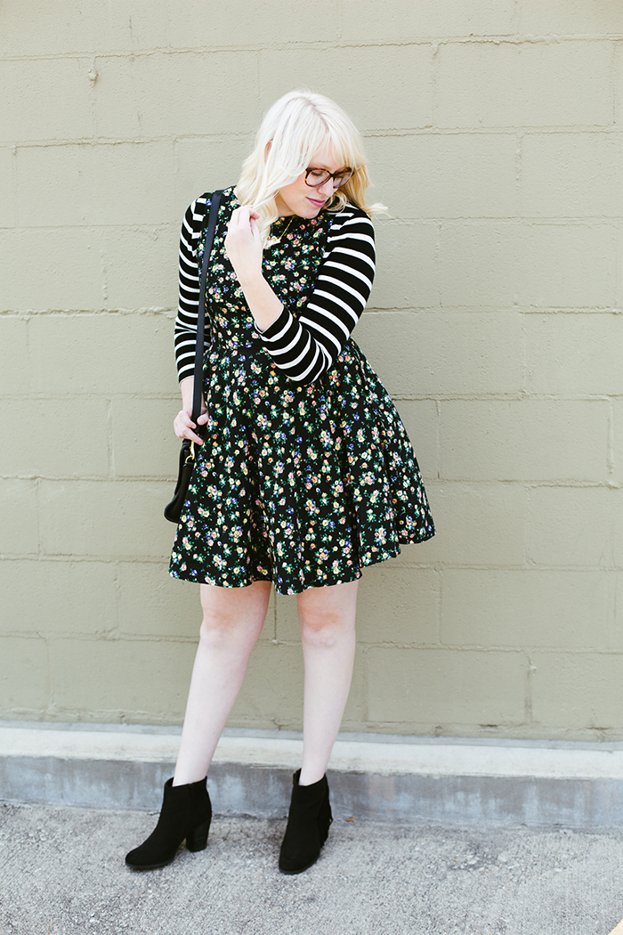 writes like a girl floral dress striped shirt7