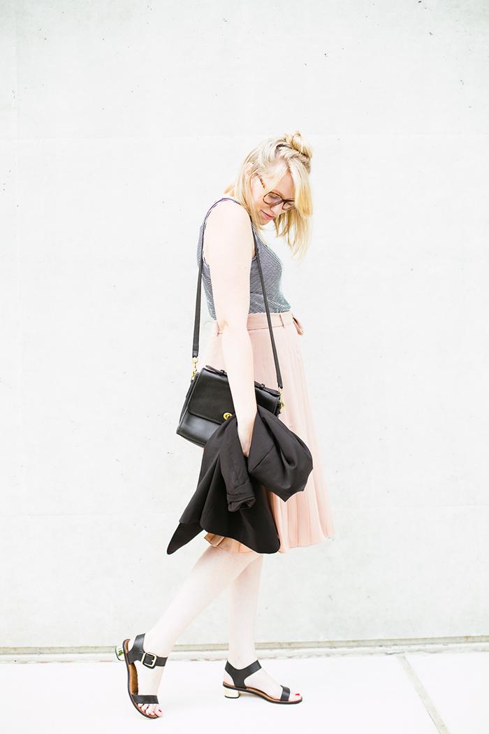 black blazer striped tank blush midi skirt5