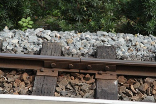 Timber sleepered track on the Hong Kong Disneyland Railroad