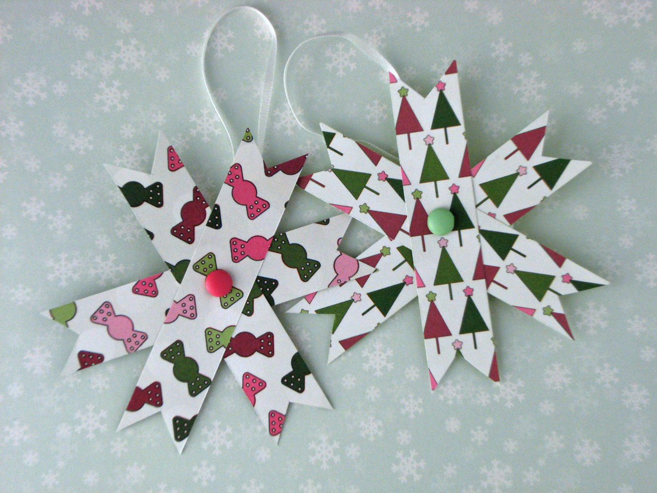 Home Decor Two Hanging Decorations Set Of 2 Paper Stars Pink
