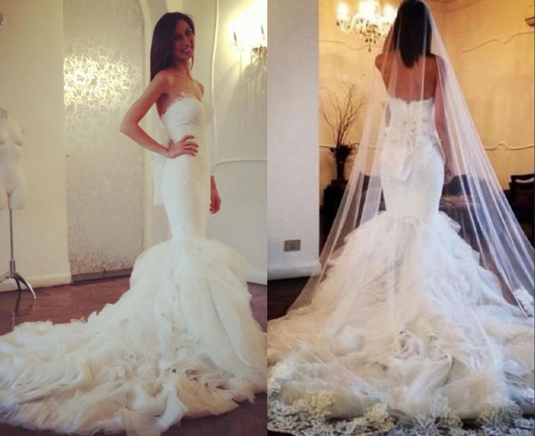 WhiteIvory Tulle Mermaid Wedding Dresses Ruffled Bridal