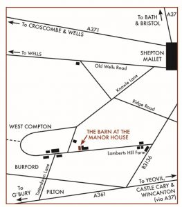 Line map showing the position of The Barn at The Manor House, West Compton, Shepton Mallet, Somerset, BA4 4PB