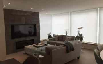 TV above fireplace and Motorized blinds