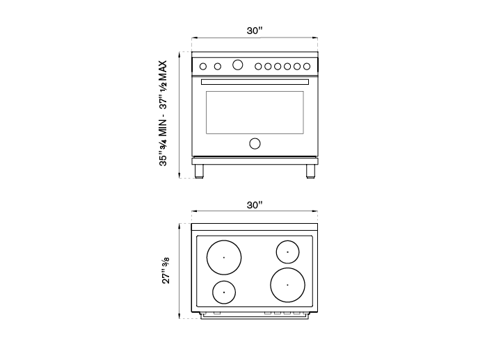 30 inch Electric Range, 4 Heating Zones, Electric Oven