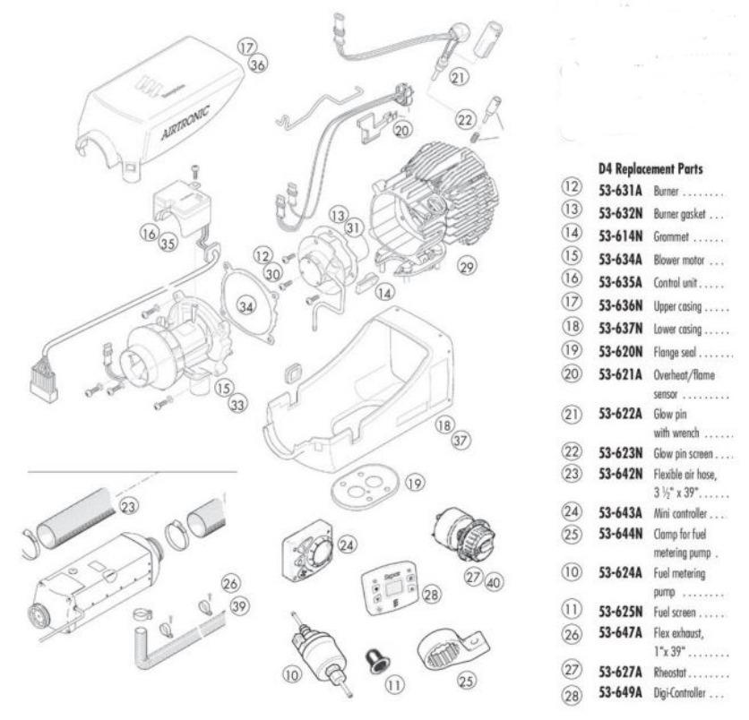 Buy ESPAR Airtronic D4 Marine Diesel Heater Kit 13,650 BTU