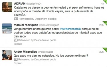 Anti-Catalan tweets with the hashtag #twitterencatalà, curated by apuntem.cat