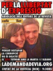 Cartell en suport de l'Albano i la Marta, editors de la revista Cafè amb Llet.