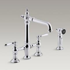 Bridge Faucets Kitchen Cabinet Lighting Kohler Canada K 76519 4 Artifacts Deck Mount Sink Faucet With Lever Handles And Sidespray
