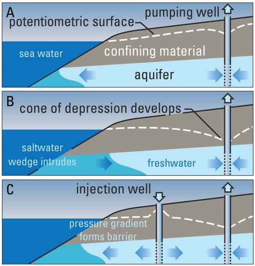 small resolution of illustration of how the seaward movement of freshwater prevents seawater from encroaching coastal aquifers