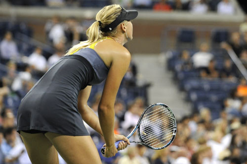 Maria Sharapova (RUS)[3] concentrates as she plays againt Anastasiya Yakimova (BLR) during a women's singles 2nd Round match on day 3 of the 2011 US Open.