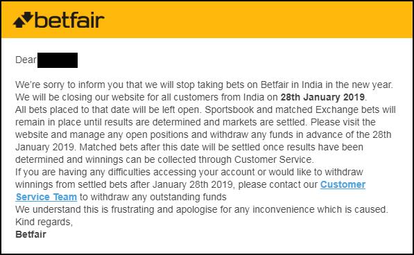 India account closed Betfair