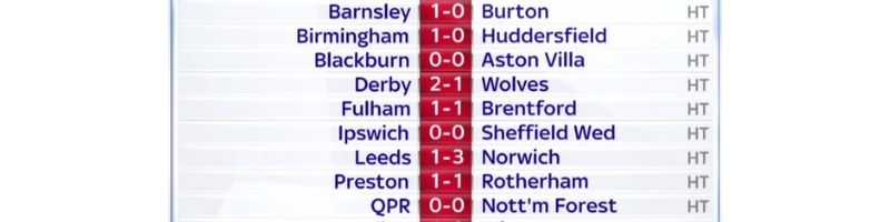 Football Results Screen