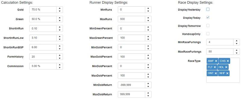 in running tool settings