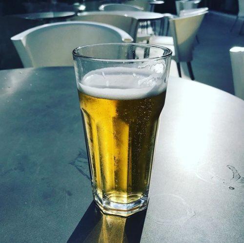 pint beer in sun