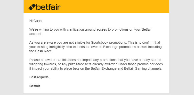 Betfair exchange promotions mail