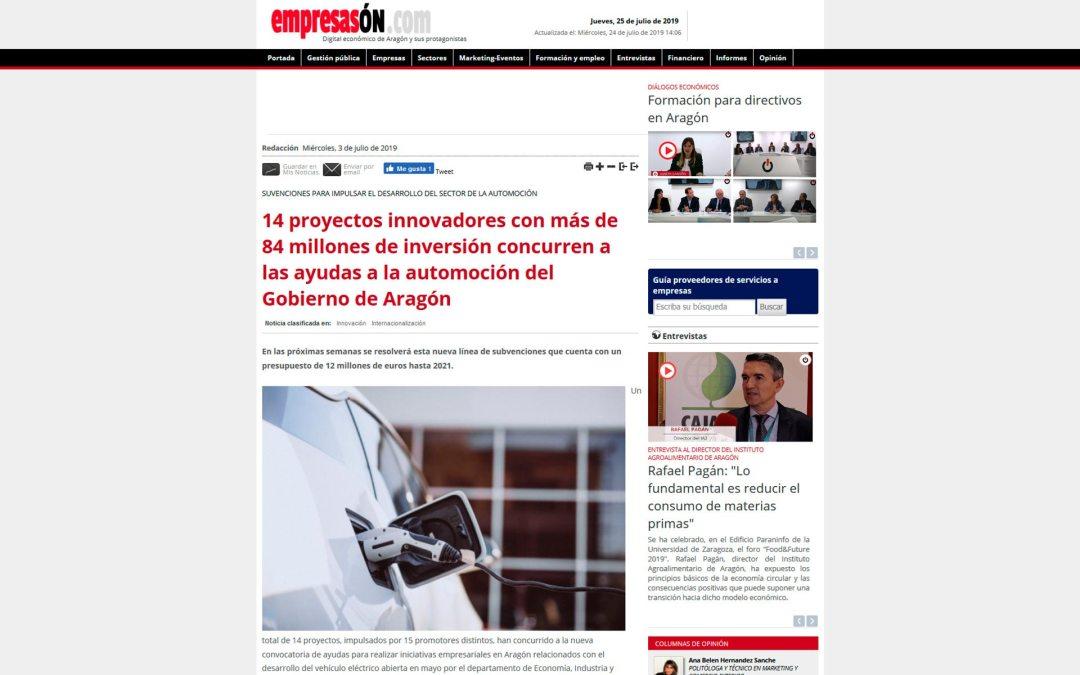 14 proyectos innovadores con más de 84 millones de inversión concurren a las ayudas a la automoción del Gobierno de Aragón