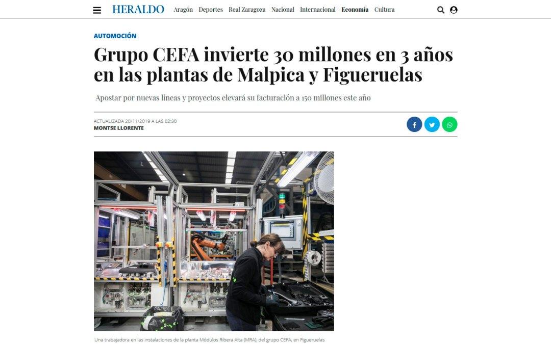 Grupo CEFA invierte 30 millones en 3 años en las plantas de Malpica y Figueruelas