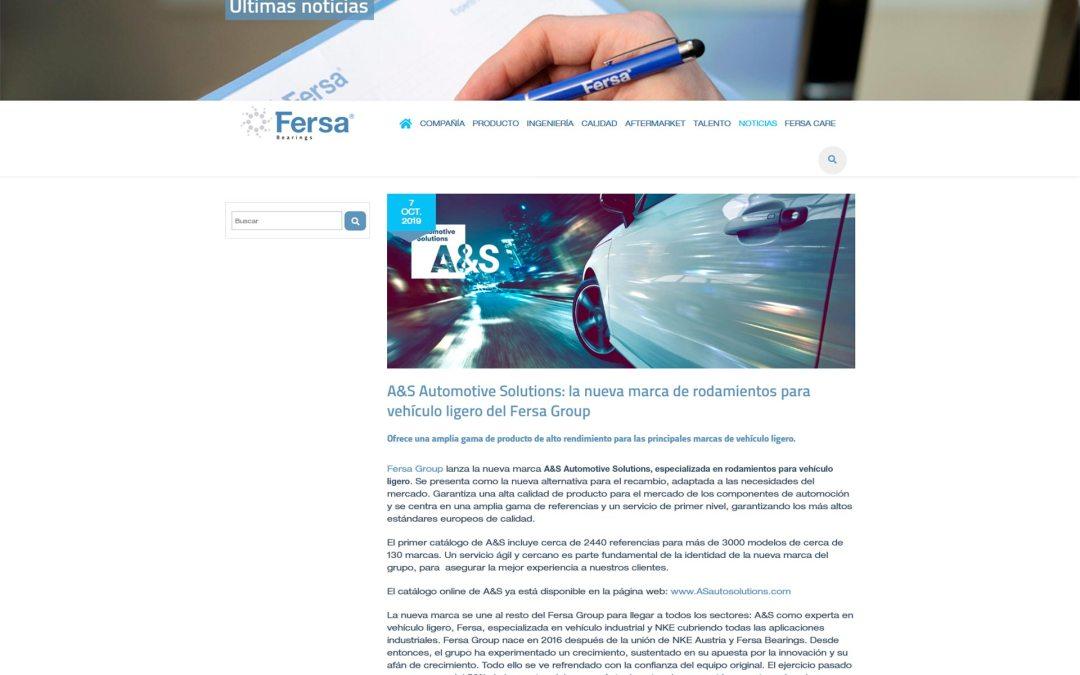 A&S Automotive Solutions: la nueva marca de rodamientos para vehículo ligero del Fersa Group