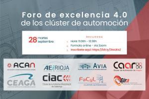 """Jornada """"Foro de excelencia 4.0 de los clusters de automoción"""", 28 de septiembre a las 11.00 (zoom)"""