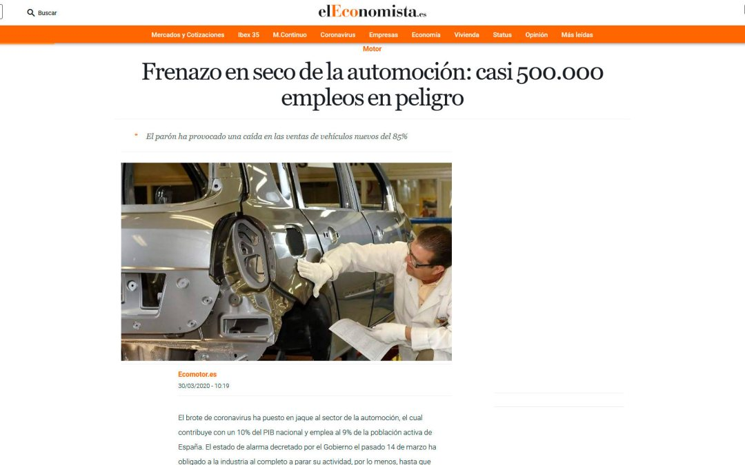 Frenazo en seco de la automoción: casi 500.000 empleos en peligro