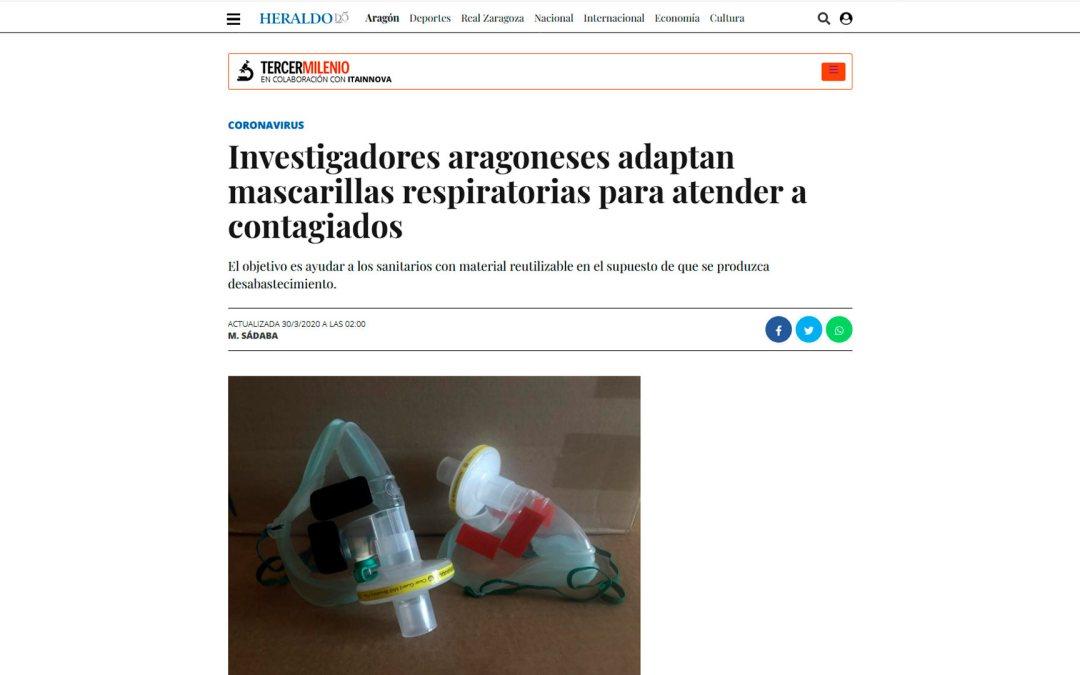 ITAINNOVA colabora con el IIS Aragón para conseguir mascarillas para personal sanitario