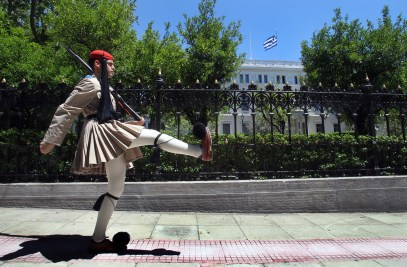 Greek party leaders meet to set up a caretaker government to take the country to elections