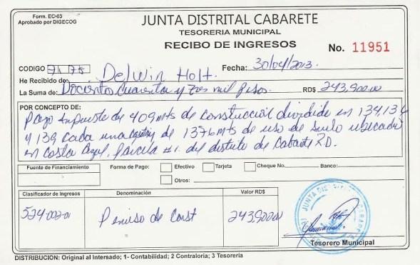 Recibo original de RD 243,900 pagado por Delwin Hott para un proyecto en Costal Azul en Cabaredte