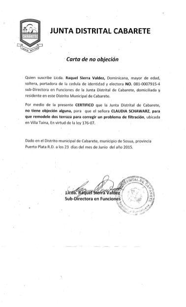 carta no objecion villa taina