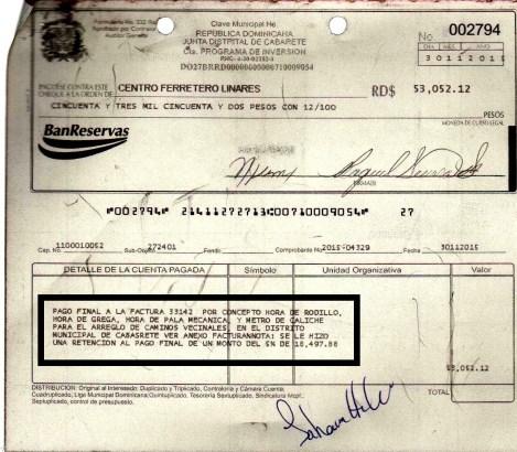 Ese cheque es el pago final de la factura de la Ferretaria Linares
