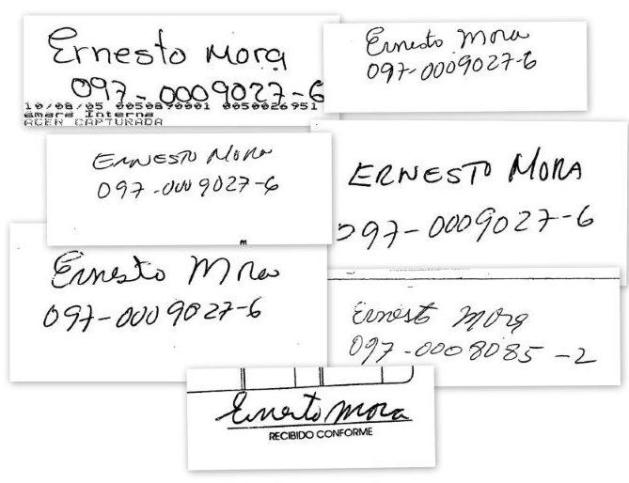 Las diferentes firmas de Ernesto Mora que fueron utilizadas para endosar los cheques