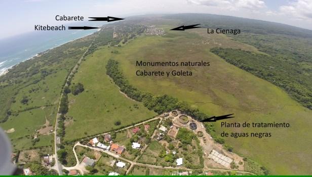 La planta de tratamiento de aguas negras se encuentra a 5 kilometros de Cabarete y trabajando con bombeo en lugar de gravedad