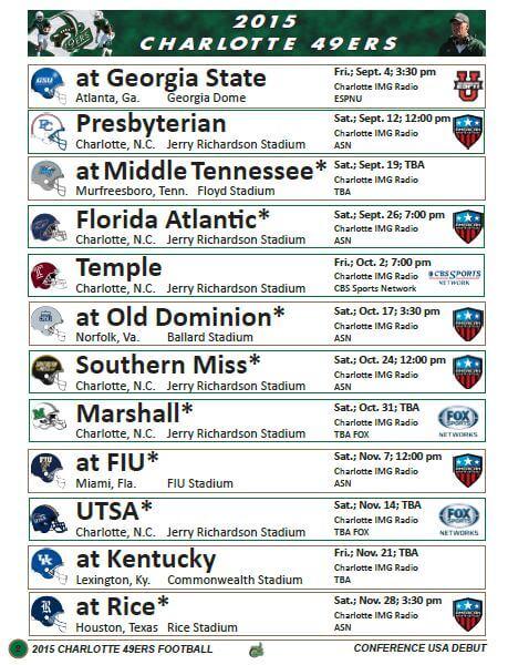 charlotte 49ers schedule 6-16-15